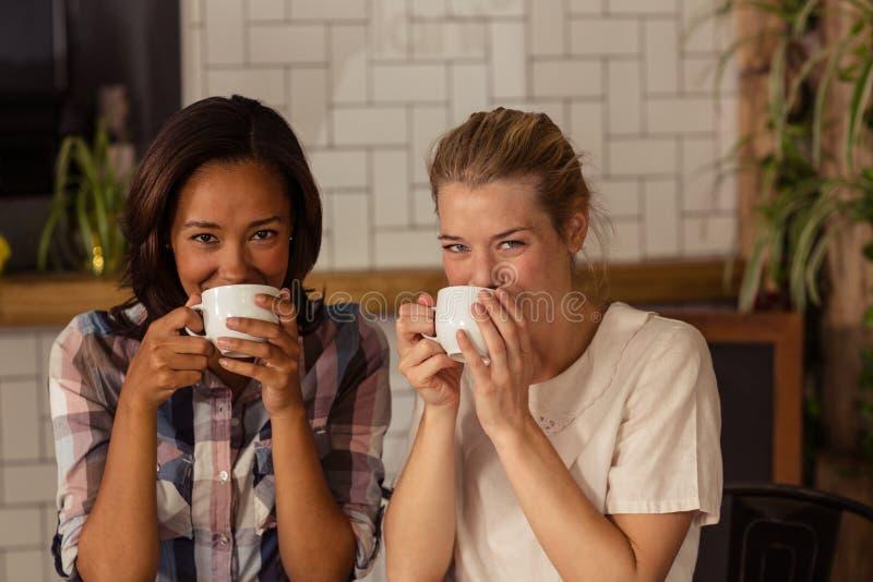 Портрет женских друзей имея кофе стоковые изображения