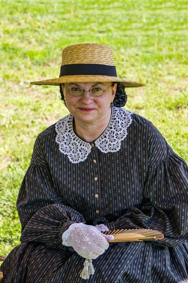 Портрет женского Confederate Reenactor на сражении Buchanan стоковая фотография rf