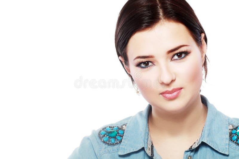 Портрет женщины близкий поднимающий вверх стоковые изображения rf