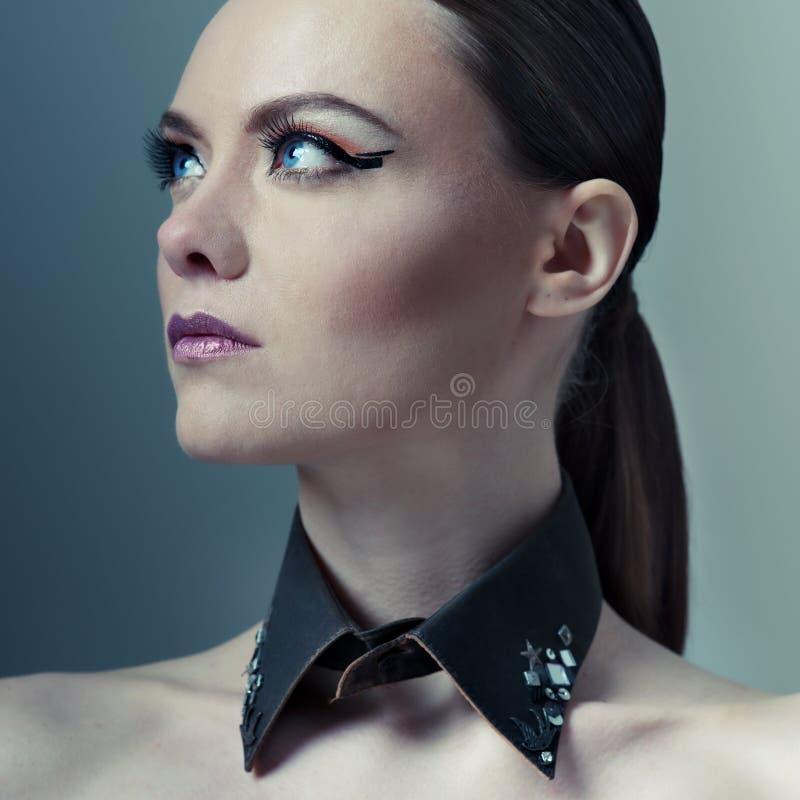 Портрет женщины высокой моды стоковое фото rf