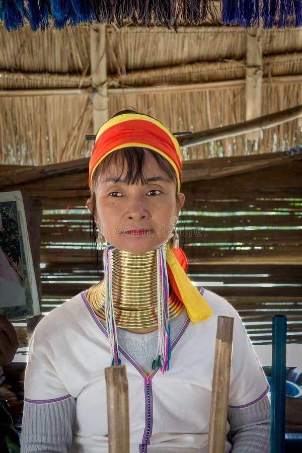 Портрет женщины длинной шеи взрослой в деревне холм-племени Karen' шеи 'Long этнической стоковое изображение