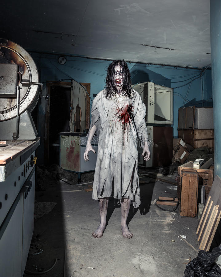 Портрет женщины зомби ужаса halloween стоковые изображения