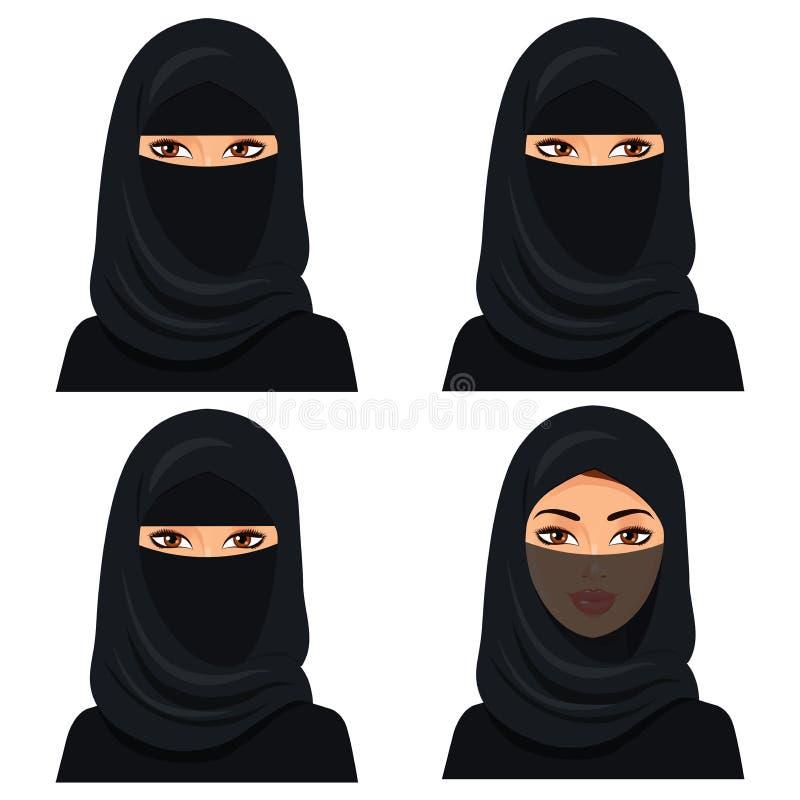 Портрет женщины комплекта 4 красивый молодой саудовский в черном hijab в различной стороне: смотрящ левая и правая, закрытая вуал иллюстрация штока