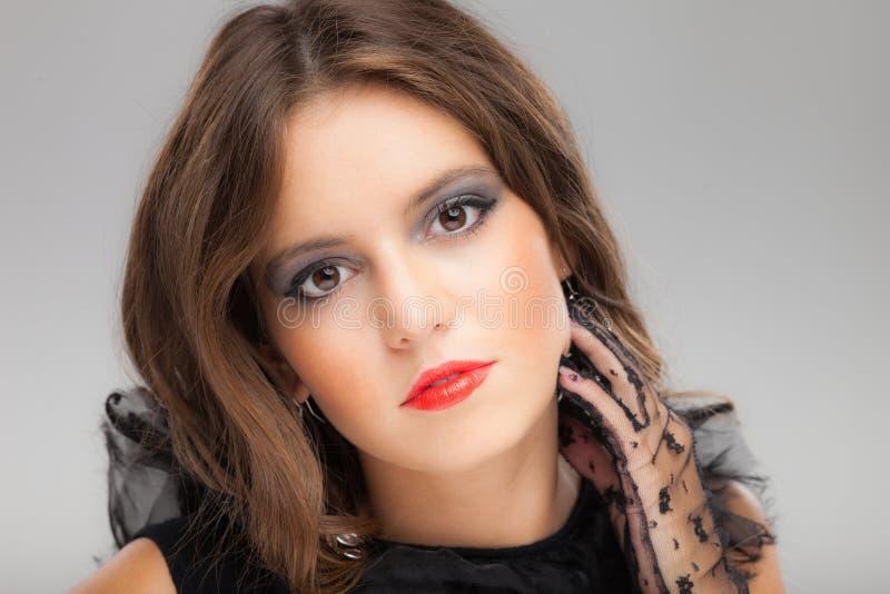 Портрет женщины моды молодой красивый стоковые фотографии rf