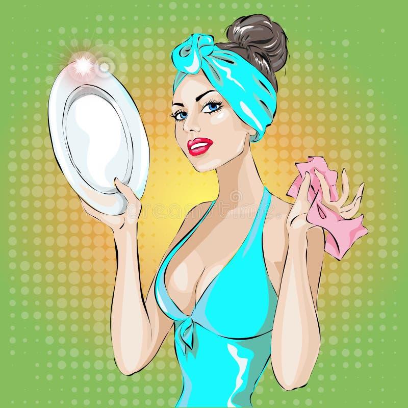 Портрет женщины домохозяйки pin-вверх в голубом мытье платья вверх по плите домоустройство, сексуальная жена бесплатная иллюстрация