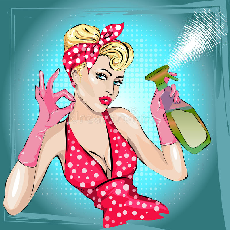 Портрет женщины домохозяйки pin-вверх с счищателем домоустройство, сексуальная жена бесплатная иллюстрация