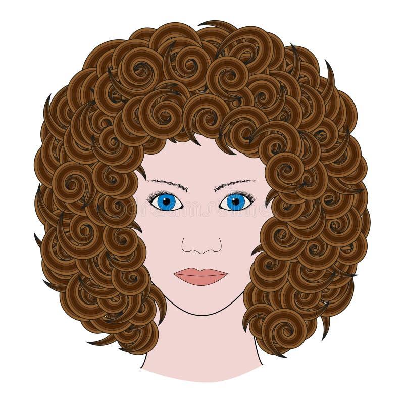 Портрет женщины при курчавые коричневые покрашенные волосы иллюстрация вектора