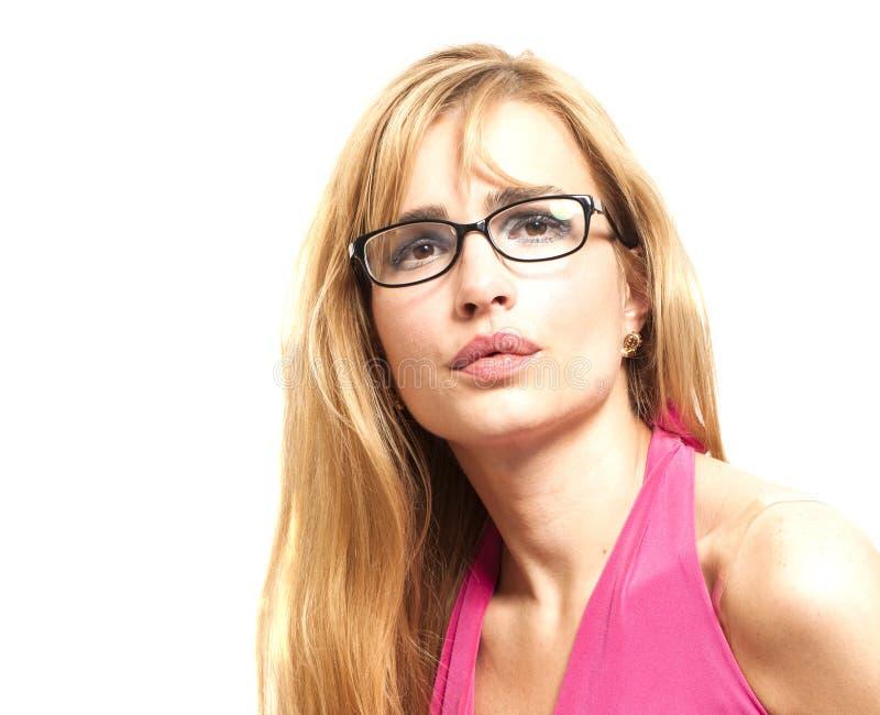 Портрет женщины стекел Eyewear Белокурый красивый носить женщины стоковые изображения rf