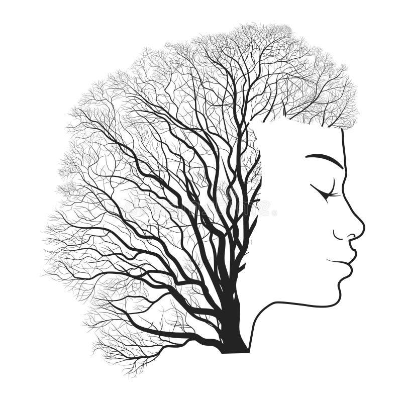 Портрет женщины с двойной экспозицией, стороной и деревом иллюстрация штока