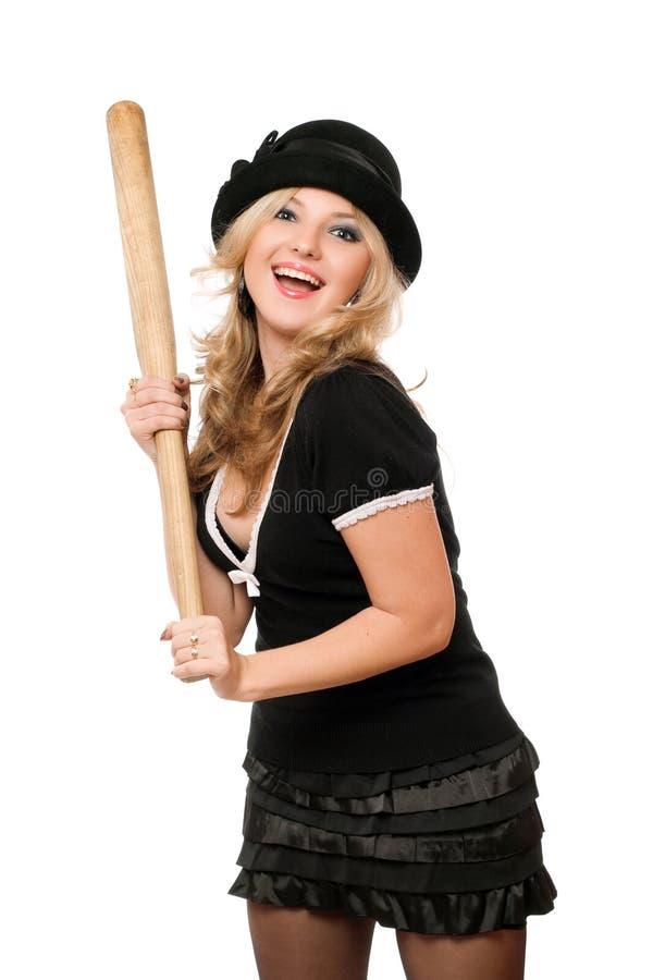 Портрет жизнерадостной девушки с летучей мышью стоковое изображение