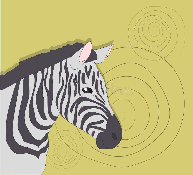Портрет зебры на покрашенной предпосылке иллюстрация вектора