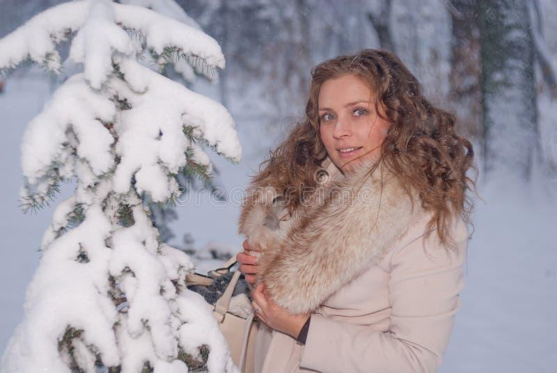 Download Портрет зимы женщины в белом пальто во время снежностей в парке Стоковое Фото - изображение насчитывающей руки, город: 81804668
