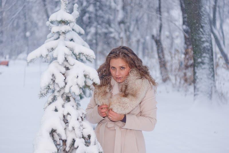 Download Портрет зимы женщины в белом пальто во время снежностей в парке Стоковое Изображение - изображение насчитывающей зима, бело: 81804675