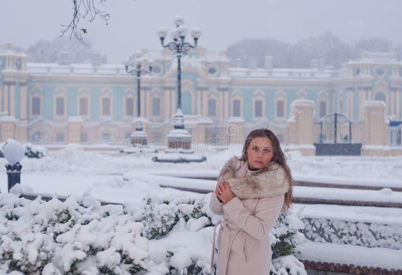 Download Портрет зимы женщины в белом пальто во время снежностей в парке Стоковое Фото - изображение насчитывающей bluets, сосенка: 81804770