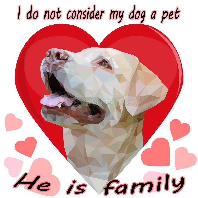 Портрет золотого Retriever в низко-поли стиле на предпосылке красного сердца и надписи: Я не учитываю мою собаку бесплатная иллюстрация