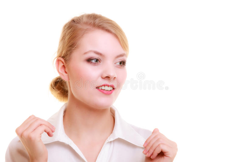 Портрет изолированной женщины коммерсантки белокурой стоковая фотография
