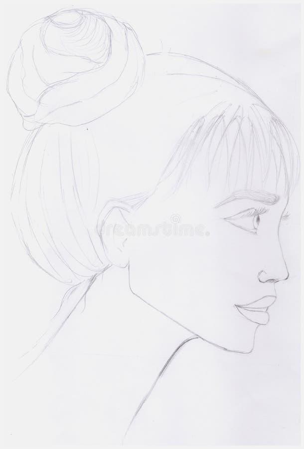 Портрет карандашем стоковое изображение