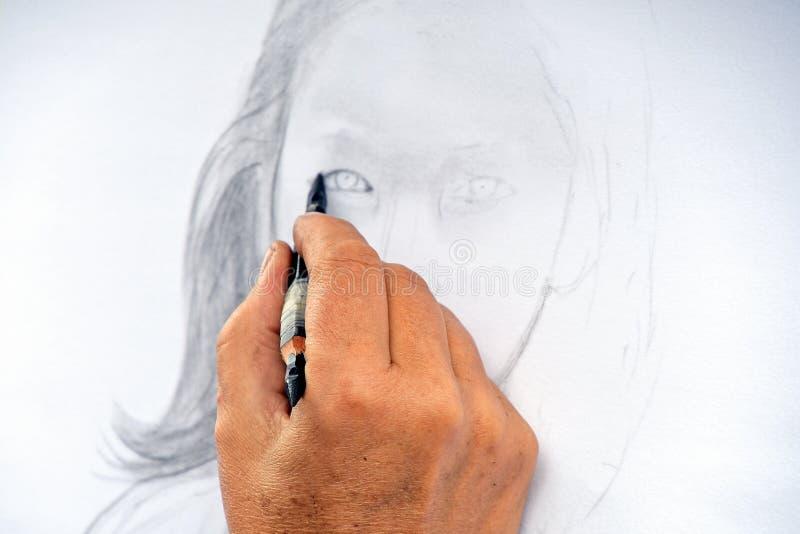 Портрет карикатуры девушки стоковая фотография