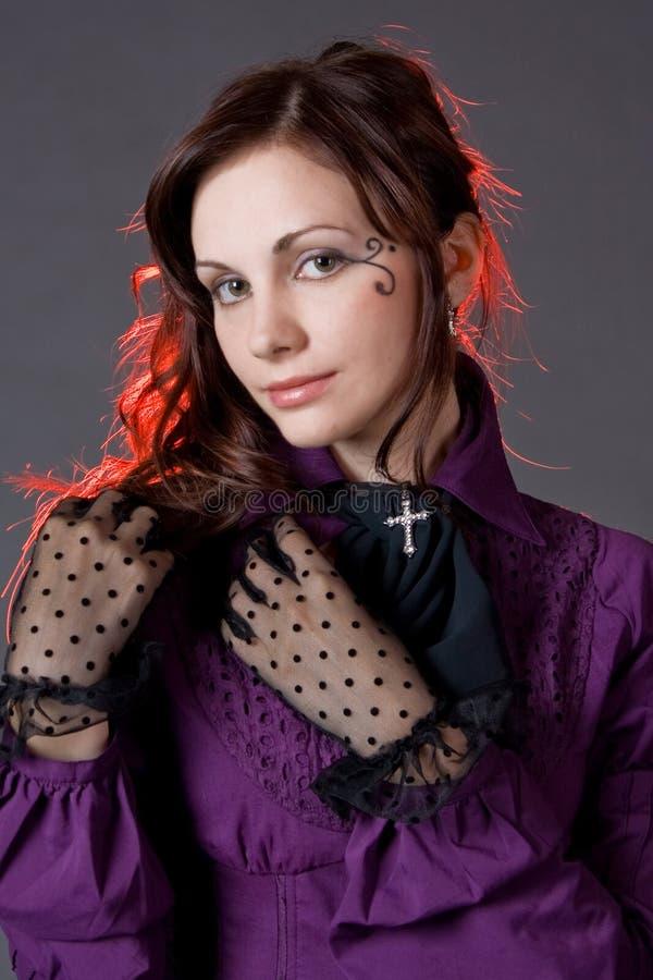портрет классицистической девушки готский стоковые изображения