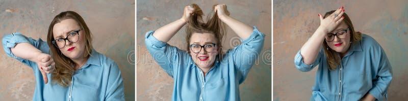 Портрет коллажа привлекательной добавочной женщины размера имея эмоции гнева, выражающ безвыходность и раздражение над покрашенны стоковые изображения rf
