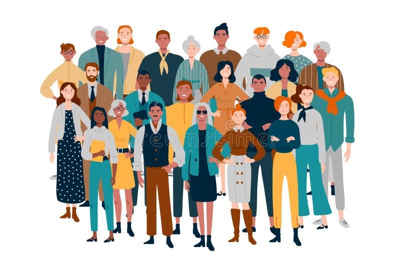 Портрет команды дела Разнообразное положение людей совместно иллюстрация вектора