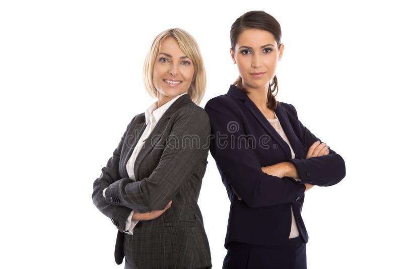 Портрет: Команда 2 изолировала усмехаться и успешное businesswo стоковые изображения