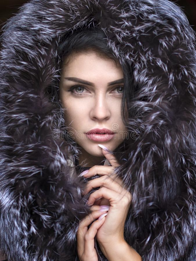 Портрет конца-вверх красивой сексуальной женщины в мехе стоковая фотография rf