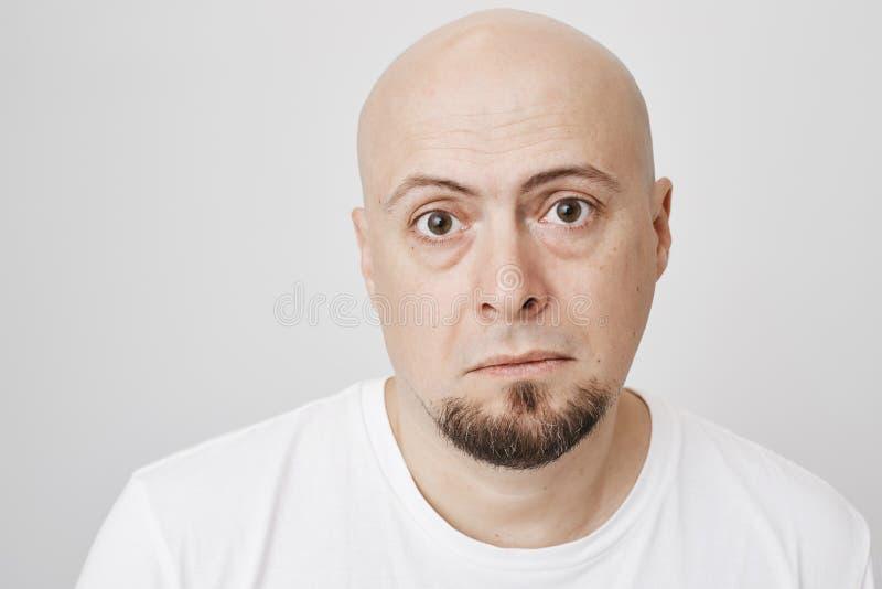 Портрет конца-вверх осадки утомлял несчастный бородатый облыселый человека, смотря утомлен, положение против серой предпосылки вы стоковое фото rf