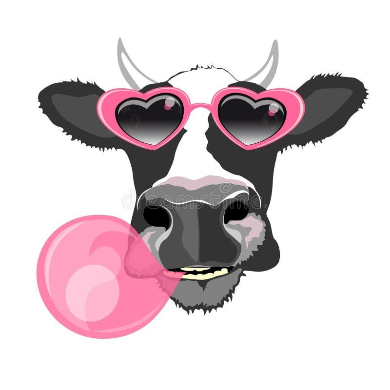 Портрет коровы иллюстрация штока