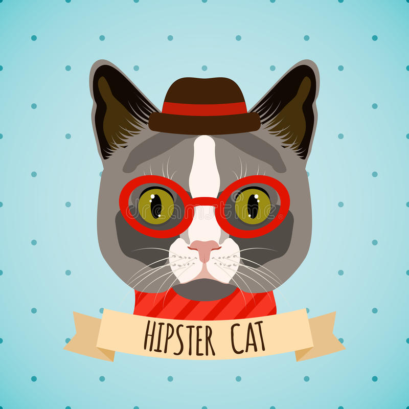 Портрет кота битника иллюстрация вектора