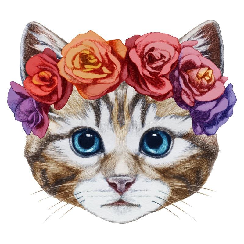 Портрет кота с флористическим головным венком бесплатная иллюстрация