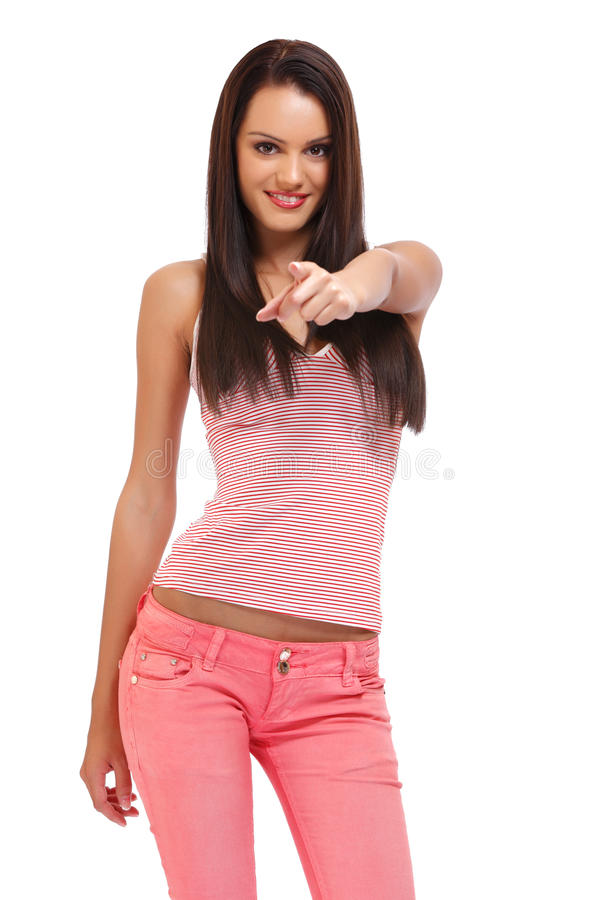 Портрет красивейшего подростка указывая на вас стоковое изображение rf