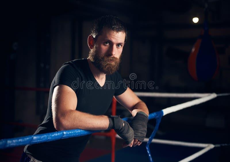 Портрет красивого боксера пинком в кольце на оздоровительном клубе стоковое фото rf