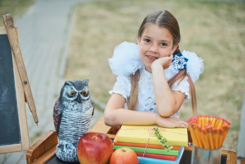 Портрет красивого молодого перво-грейдера сидя на столе на парке осени предпосылки Прощальный колокол день знания стоковая фотография