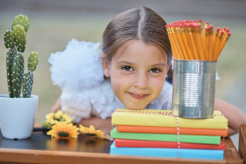 Портрет красивого молодого перво-грейдера сидя на столе на парке осени предпосылки Прощальный колокол день знания стоковые изображения rf