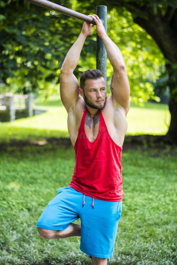 Портрет красивого топлесс мышечного человека при татуированное тело смотря прочь стоковая фотография rf