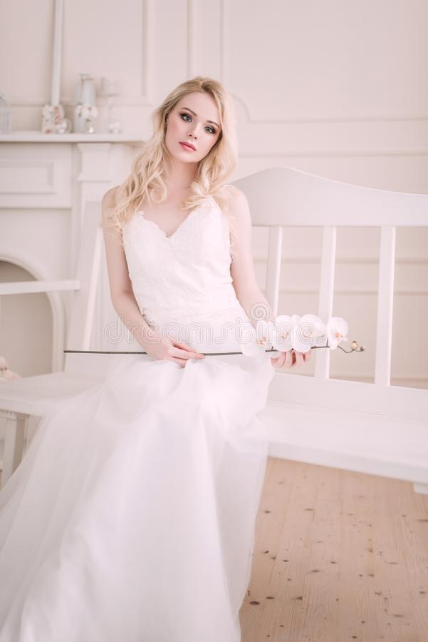 Портрет красивой белокурой девушки в изображении невесты Сторона красотки Фото сняло в студии на светлой предпосылке стоковые изображения rf