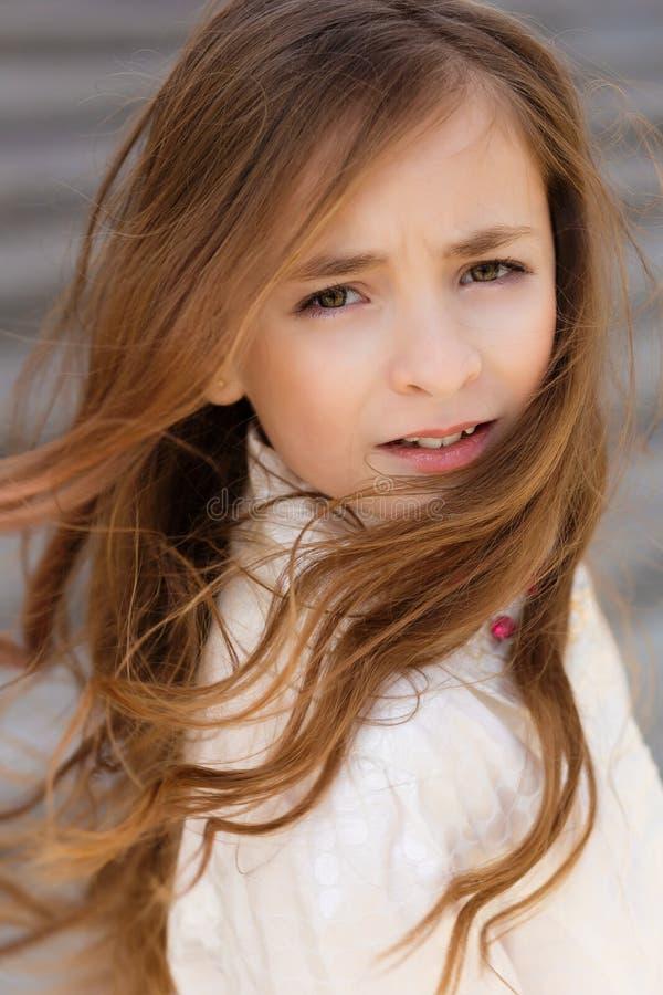 Портрет красивой девушки с темными волосами и коричневым цветом наблюдает стоковые изображения