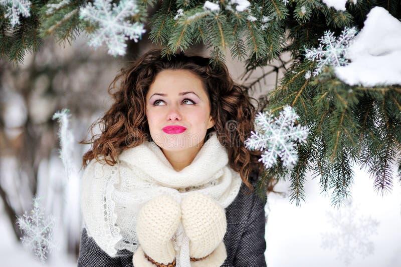 Портрет красивой женщины в зиме связал mittens стоковая фотография rf