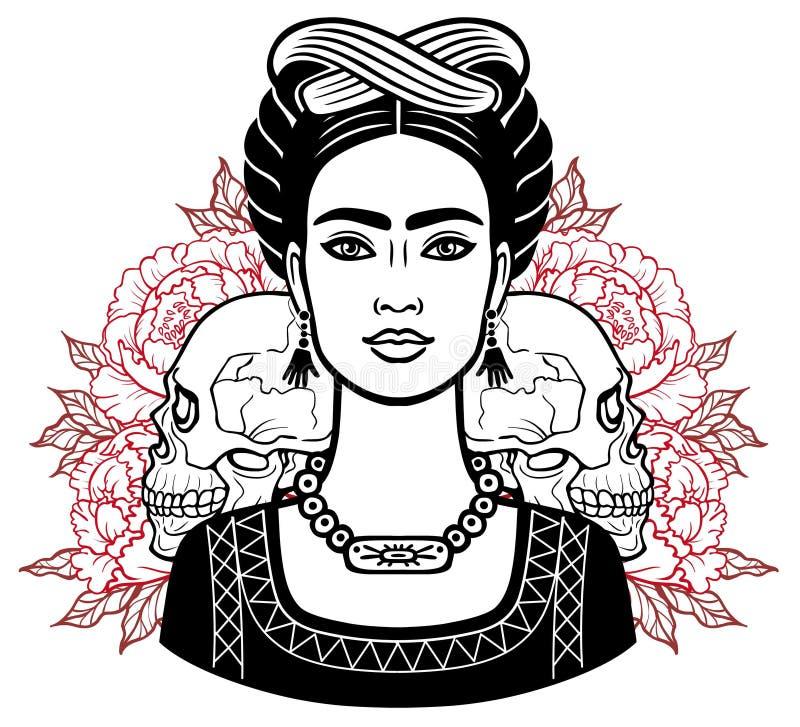 Портрет красивой мексиканской женщины в старых одеждах, человеческих черепах иллюстрация вектора