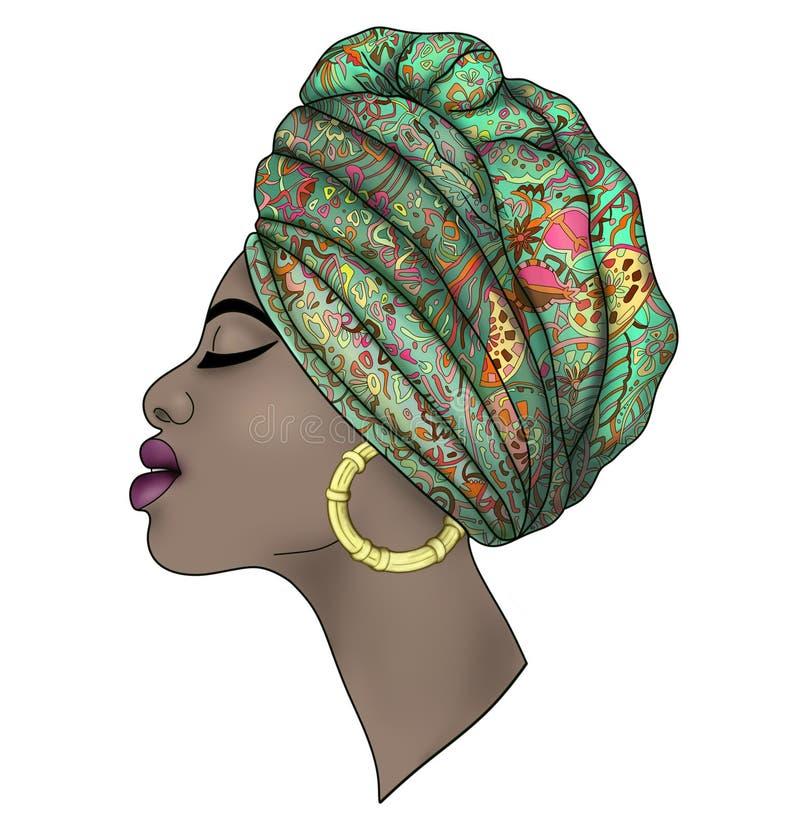 Портрет красивой молодой африканской женщины иллюстрация штока