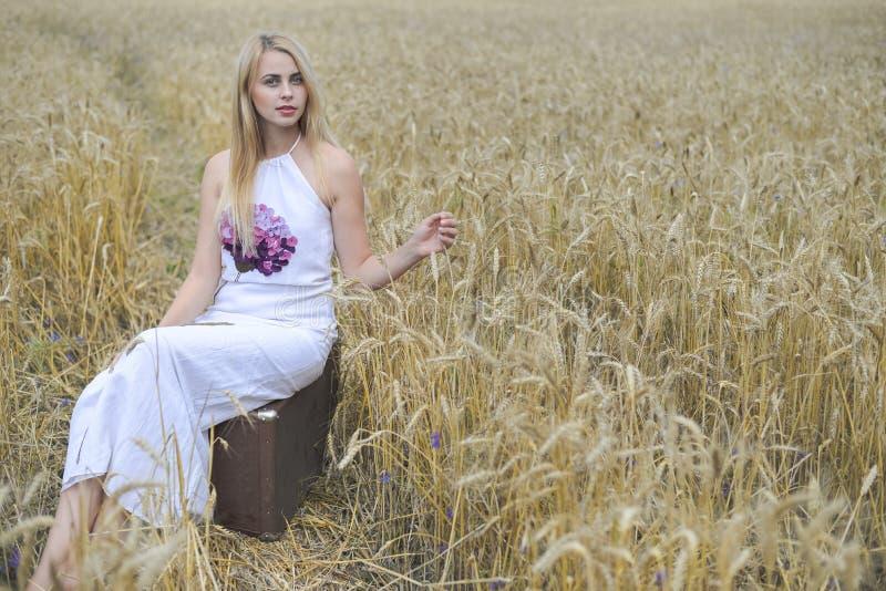 Портрет красивой молодой дамы с чемоданом на сельской местности ландшафта предпосылке outdoors стоковые изображения