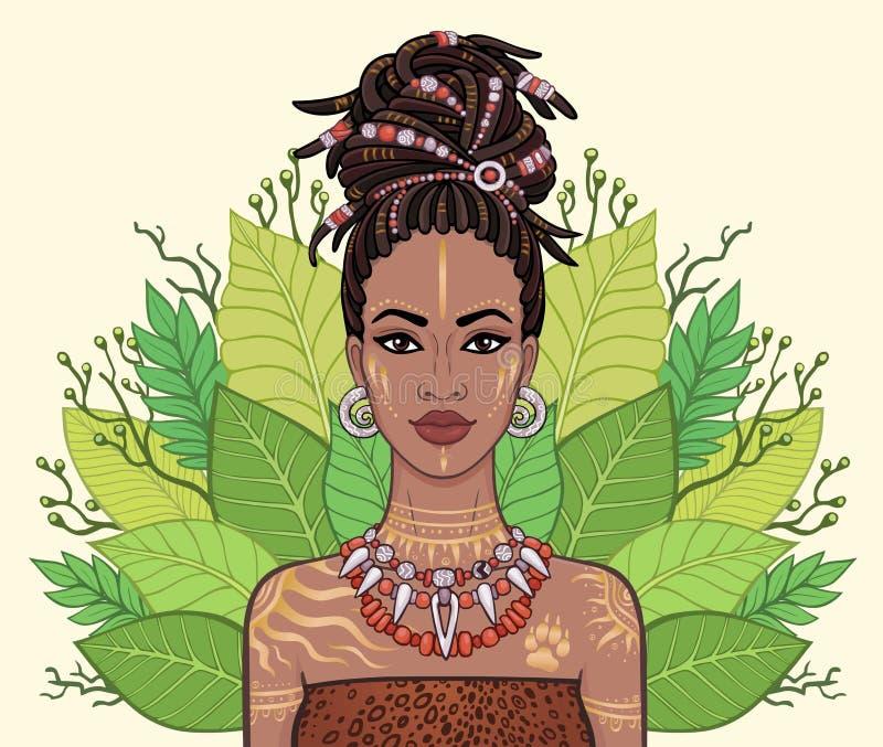 Портрет красивой чернокожей женщины, венок анимации тропических листьев иллюстрация вектора