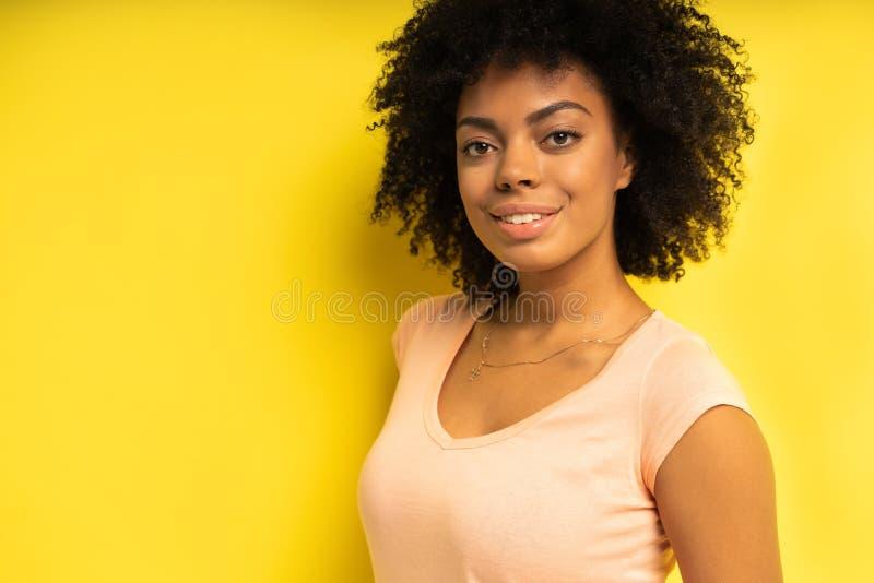 Портрет красивый Афро-американский женский модельный усмехаться стоковые изображения rf