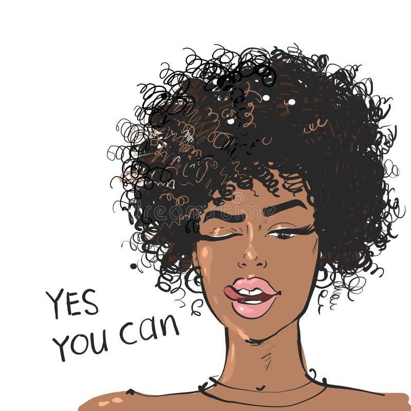 Портрет красотки афро-американские женщины, показывающие туна с лозунгом Да Вы можете иллюстрация вектора