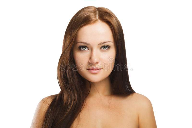 Портрет красоты молодой женщины с естественным составом изолированной в w стоковые изображения rf