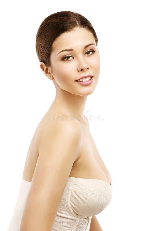 Портрет красоты стороны женщины естественный, молодая красивая модель стоковая фотография