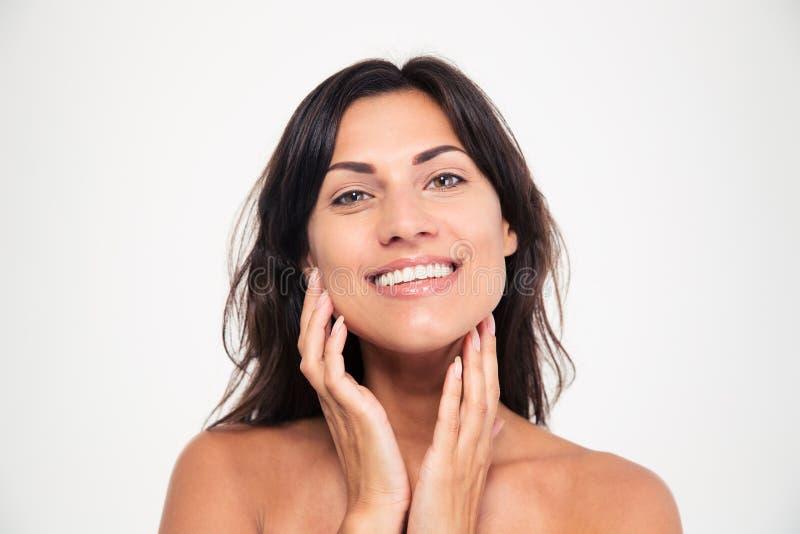 Портрет красоты счастливой женщины с свежей кожей стоковое фото rf