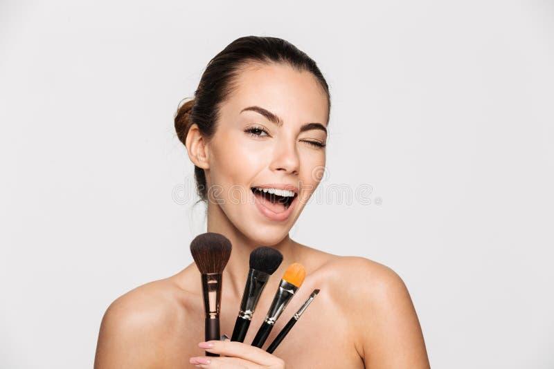 Портрет красоты excited красивой половинной нагой женщины стоковое изображение rf