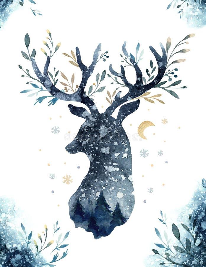 Портрет крупного плана акварели голубых оленей белизна изолированная предпосылкой Нарисованная рукой иллюстрация индиго рождества бесплатная иллюстрация